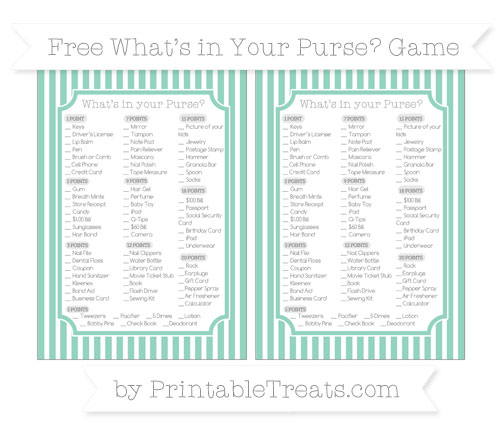 Free Pastel Green Thin Striped Pattern What's in Your Purse Baby Shower Game