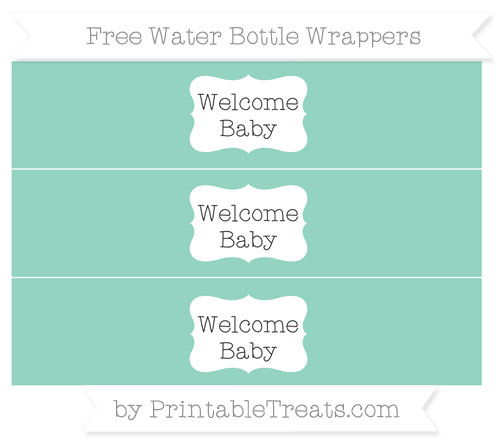 Free Pastel Green Welcome Baby Water Bottle Wrappers