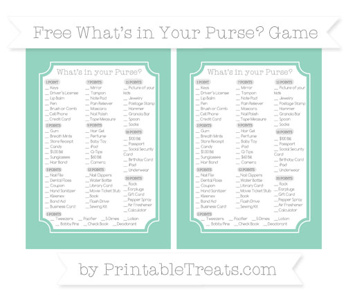 Free Pastel Green What's in Your Purse Baby Shower Game
