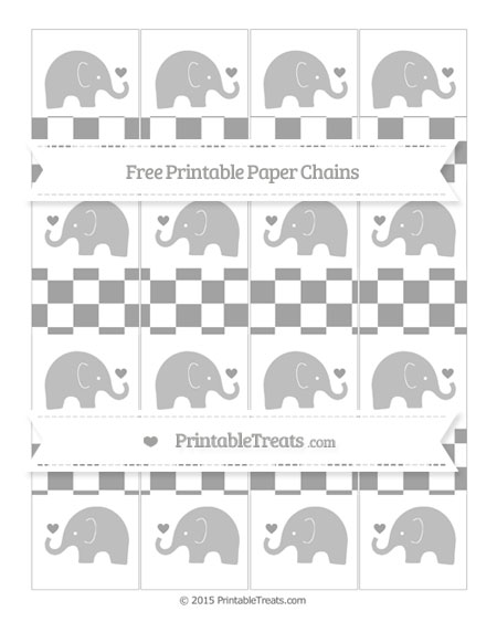 Free Pastel Grey Checker Pattern Baby Elephant Paper Chains