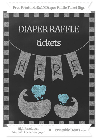 Free Pastel Grey Checker Pattern Chalk Style Baby Whale 8x10 Diaper Raffle Ticket Sign