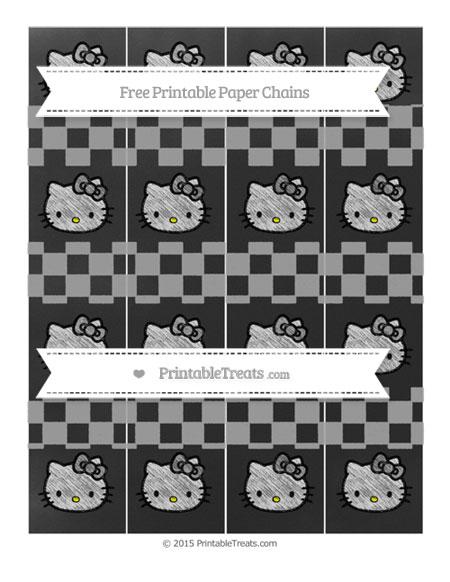 Free Pastel Grey Checker Pattern Chalk Style Hello Kitty Paper Chains