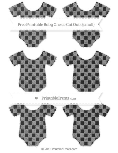 Free Pastel Grey Checker Pattern Chalk Style Small Baby Onesie Cut Outs
