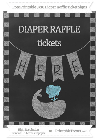 Free Pastel Grey Checker Pattern Chalk Style Whale 8x10 Diaper Raffle Ticket Sign