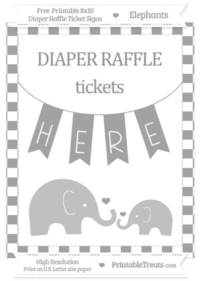Free Pastel Grey Checker Pattern Elephant 8x10 Diaper Raffle Ticket Sign