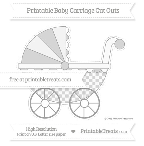 Free Pastel Grey Checker Pattern Extra Large Baby Carriage Cut Outs