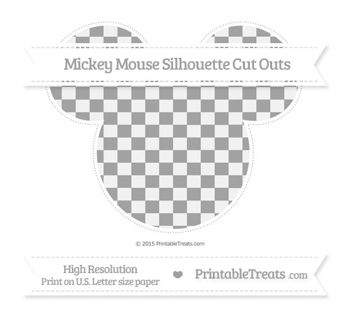 Free Pastel Grey Checker Pattern Extra Large Mickey Mouse Silhouette Cut Outs