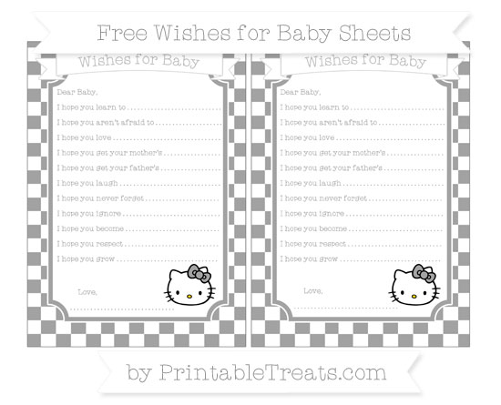 Free Pastel Grey Checker Pattern Hello Kitty Wishes for Baby Sheets
