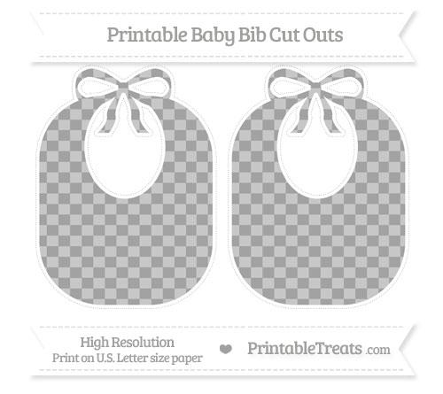 Free Pastel Grey Checker Pattern Large Baby Bib Cut Outs