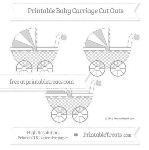 Free Pastel Grey Checker Pattern Medium Baby Carriage Cut Outs