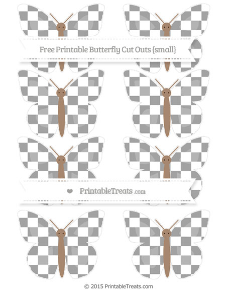 Free Pastel Grey Checker Pattern Small Butterfly Cut Outs