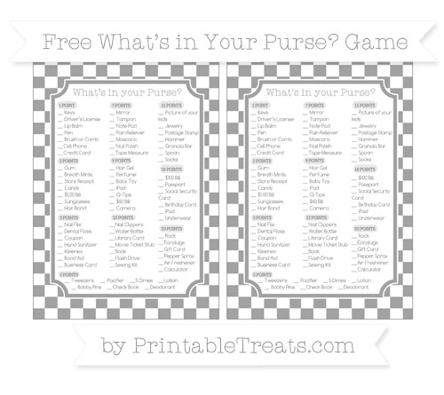 Free Pastel Grey Checker Pattern What's in Your Purse Baby Shower Game