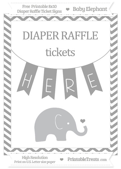 Free Pastel Grey Chevron Baby Elephant 8x10 Diaper Raffle Ticket Sign