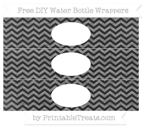 Free Pastel Grey Chevron Chalk Style DIY Water Bottle Wrappers