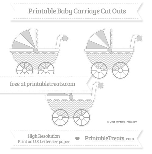 Free Pastel Grey Chevron Medium Baby Carriage Cut Outs