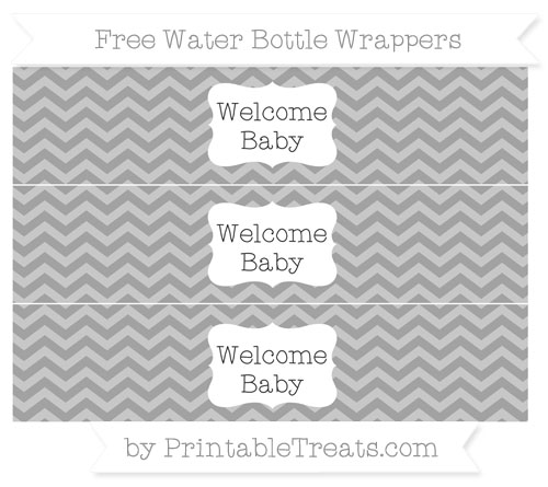 Free Pastel Grey Chevron Welcome Baby Water Bottle Wrappers