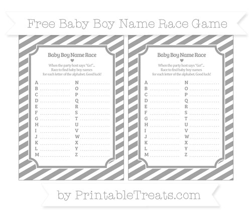 Free Pastel Grey Diagonal Striped Baby Boy Name Race Game