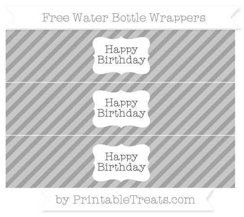 Free Pastel Grey Diagonal Striped Happy Birhtday Water Bottle Wrappers