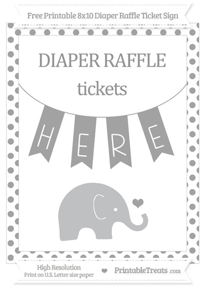 Free Pastel Grey Dotted Baby Elephant 8x10 Diaper Raffle Ticket Sign