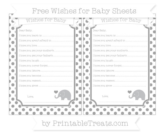 Free Pastel Grey Dotted Pattern Baby Elephant Wishes for Baby Sheets