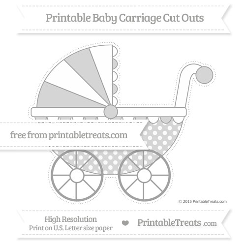 Free Pastel Grey Dotted Pattern Extra Large Baby Carriage Cut Outs