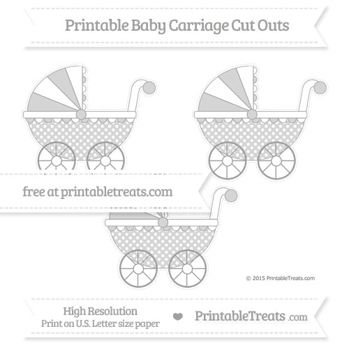 Free Pastel Grey Dotted Pattern Medium Baby Carriage Cut Outs