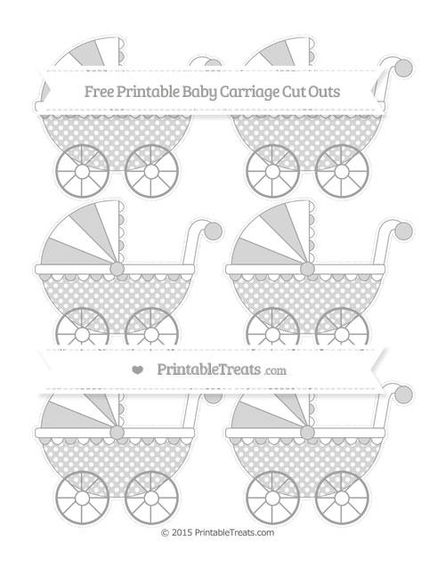 Free Pastel Grey Dotted Pattern Small Baby Carriage Cut Outs