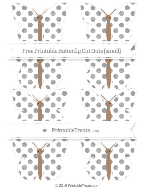 Free Pastel Grey Dotted Pattern Small Butterfly Cut Outs