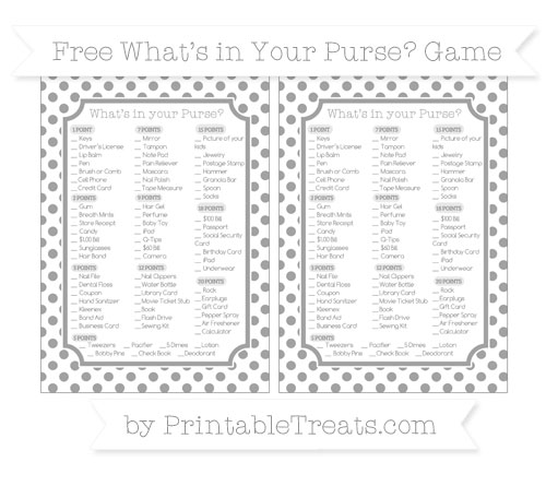 Free Pastel Grey Dotted Pattern What's in Your Purse Baby Shower Game