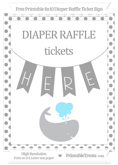 Free Pastel Grey Dotted Whale 8x10 Diaper Raffle Ticket Sign
