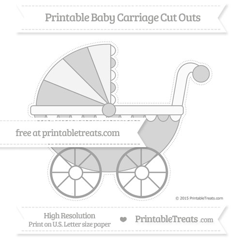 Free Pastel Grey Extra Large Baby Carriage Cut Outs