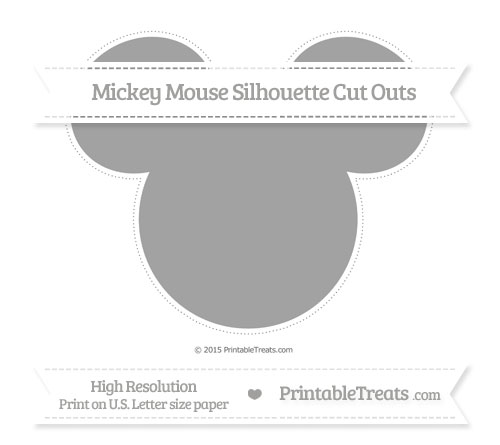 Free Pastel Grey Extra Large Mickey Mouse Silhouette Cut Outs
