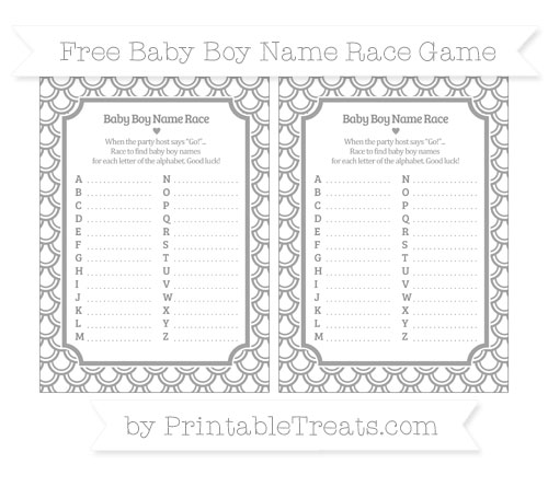 Free Pastel Grey Fish Scale Pattern Baby Boy Name Race Game