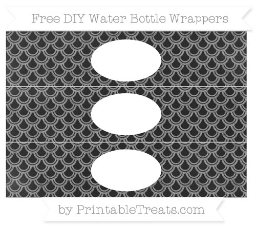 Free Pastel Grey Fish Scale Pattern Chalk Style DIY Water Bottle Wrappers