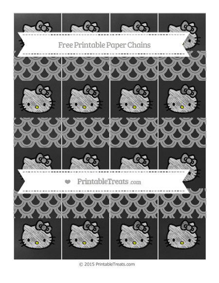 Free Pastel Grey Fish Scale Pattern Chalk Style Hello Kitty Paper Chains