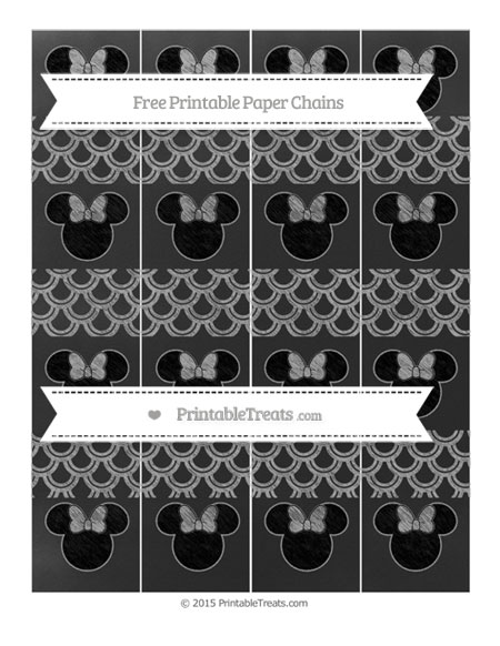 Free Pastel Grey Fish Scale Pattern Chalk Style Minnie Mouse Paper Chains