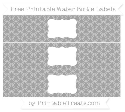 Free Pastel Grey Fish Scale Pattern Water Bottle Labels