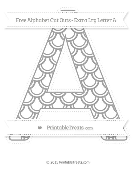 Free Pastel Grey Fish Scale Pattern Extra Large Capital Letter A Cut Outs