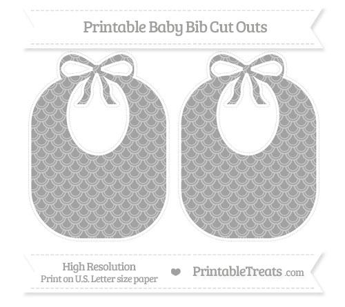 Free Pastel Grey Fish Scale Pattern Large Baby Bib Cut Outs