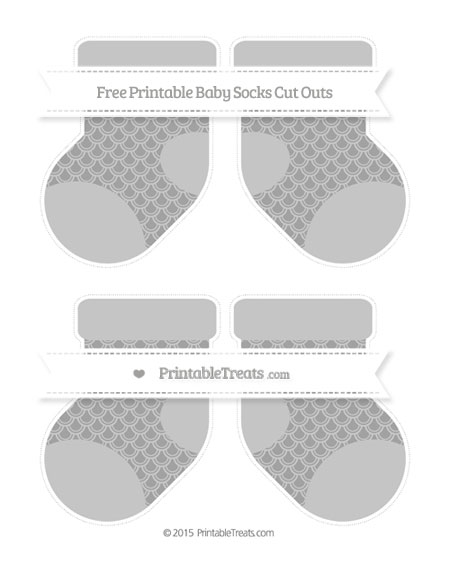 Free Pastel Grey Fish Scale Pattern Medium Baby Socks Cut Outs