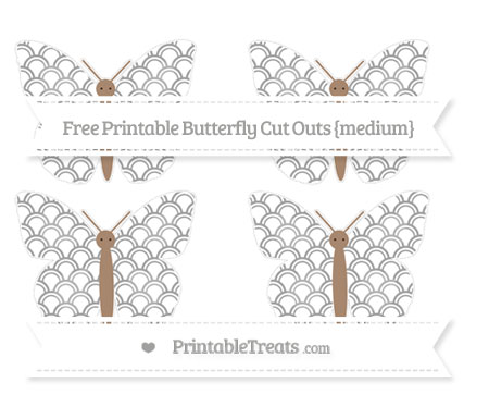 Free Pastel Grey Fish Scale Pattern Medium Butterfly Cut Outs