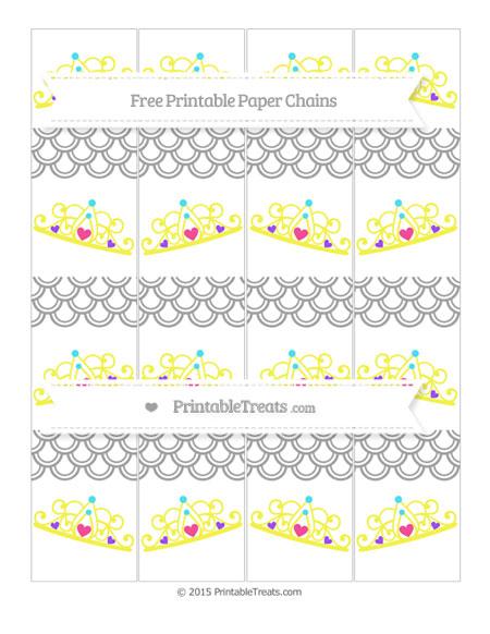 Free Pastel Grey Fish Scale Pattern Princess Tiara Paper Chains
