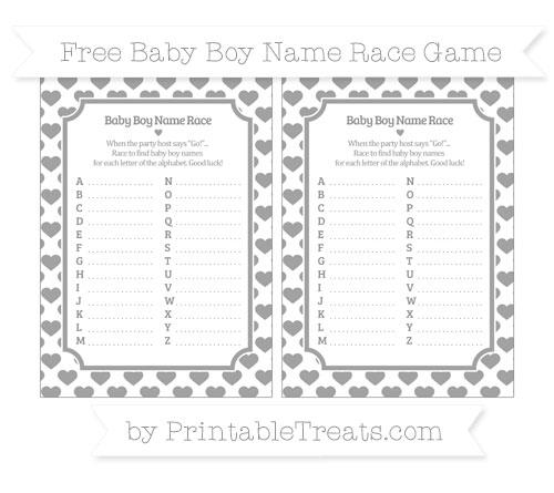 Free Pastel Grey Heart Pattern Baby Boy Name Race Game