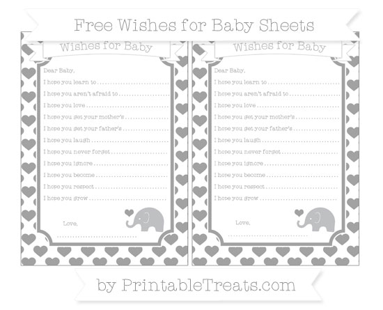 Free Pastel Grey Heart Pattern Baby Elephant Wishes for Baby Sheets