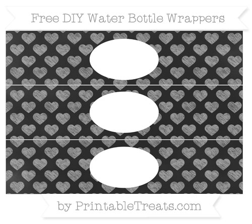 Free Pastel Grey Heart Pattern Chalk Style DIY Water Bottle Wrappers