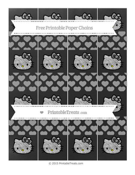 Free Pastel Grey Heart Pattern Chalk Style Hello Kitty Paper Chains