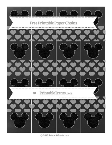 Free Pastel Grey Heart Pattern Chalk Style Mickey Mouse Paper Chains