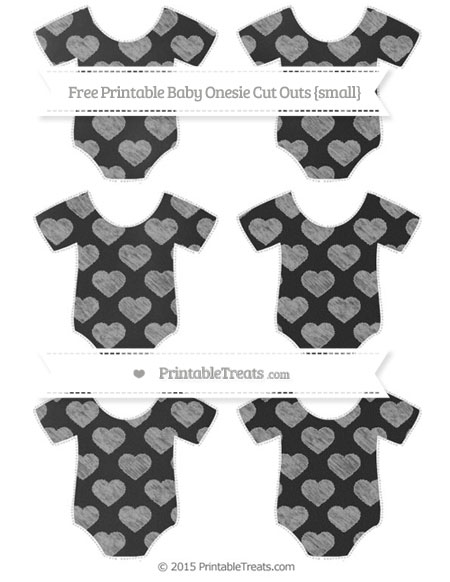 Free Pastel Grey Heart Pattern Chalk Style Small Baby Onesie Cut Outs