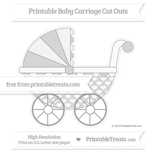 Free Pastel Grey Heart Pattern Extra Large Baby Carriage Cut Outs