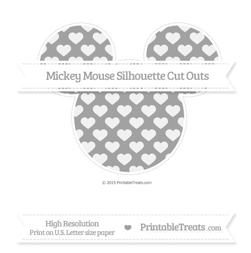 Free Pastel Grey Heart Pattern Extra Large Mickey Mouse Silhouette Cut Outs